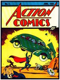 Comparaison entre le premier comic de Superman et une apparition de Robospector Source: Blog du Figaro, page «Archives juin 2012»